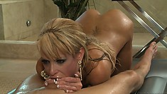 She gives a full body massage, does sixty-nine and some deep throat