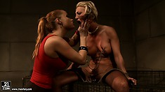 Big-tittied babe is getting humiliated by her perverted master