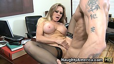 Big tit Dyanna Lauren in her nylons blows him, gets licked and fucked