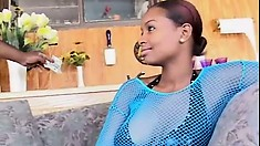 Dazzling ebony girl with a cute smile Cece shows off the contours of her superb body