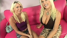 Busty blonde MILF and skinny teen show off their hot bods in a duo show