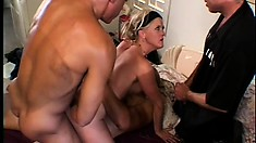 Hubby likes watching his wife take cock in her pussy and ass for hot DP
