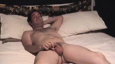 Patient boy Carlos lies alone in bed and jerks off his pretty dong