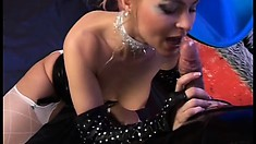 Kinky blonde in black leather Samantha Wimmer sucks a big cock and gets fucked hard