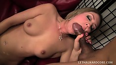 Slender blonde with a perky ass Nina Power has fun with a big cock and a vibrator