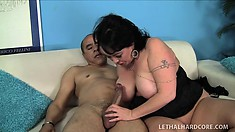 Fat mature bitch gets her curves shaken up by a younger man's cock