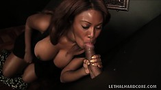 Busty chocolate bimbo enjoys sucking a stranger's cock through a hole