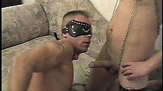 Bound up slave gives his master head and gets his tight butt pounded