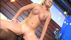 Gorgeous blonde with big tits has her first encounter with a black cock