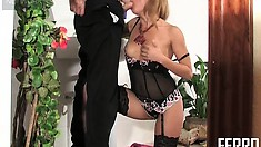 Sultry blonde in sexy lingerie Alice needs Mike's cock deep in her cunt