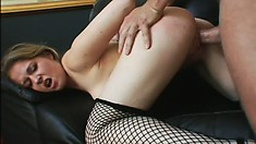 When he sees her in her slutty fishnets, his cock springs into action