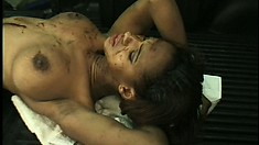 Dirty ebony slut chugs her man's thick motor oil in his garage