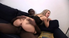 Sensual blonde in lingerie receives a huge black dick up her tight ass