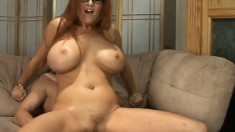 Buxom milf Kitty Lox rides a hard dick on her way to fulfill her needs