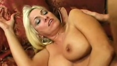 Busty blonde milf Cara is desperate to get fucked hard by a young stud