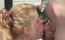 Amateur couple playing with whipped cream in a hardcore sex scene